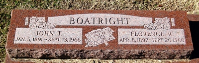 John Taylor and Florence Verona Grice Boatright Gravestone: