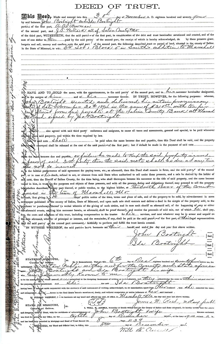 John William Boatright Deed of Trust 1874:
