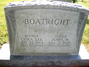 John William Boatright and Cora Lee Riggins Gravestone