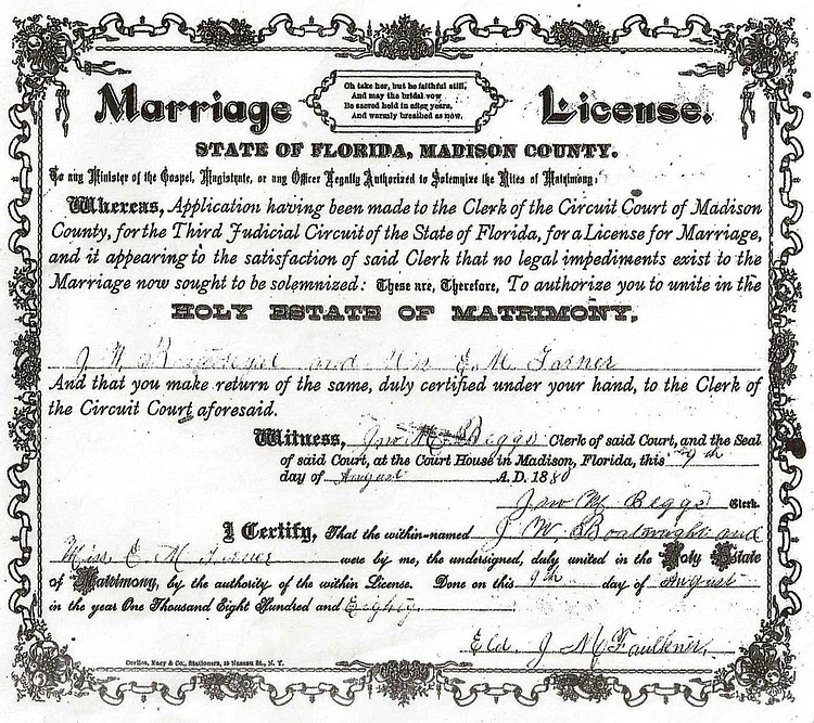 John William Boatwright and Eliza M. Garner Marriage License:
