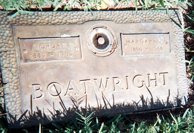 Jordan Samuel and Margarette Corena Carver Boatwright Gravestone