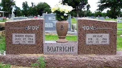 Joseph Clayton Boatright and Dorothy Helena Borchardt Gravestone