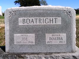 Joseph Lawson and Dialtha Guinn Boatright Gravestone:
