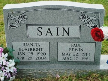 Nannie Juanita Boatright and Paul Edwin Sain Gravestone