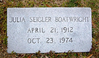 Julia Seigler Boatwright Marker