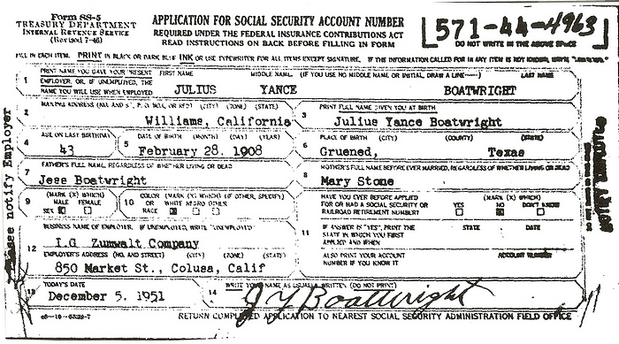 Julius Yance Boatwright Social Security Application: