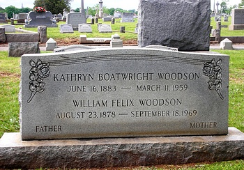 Kathryn Boatwright and William Felix Woodson Gravestone