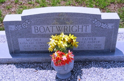Kyle Andrew and Rosa Lee Stinson Boatwright Gravestone