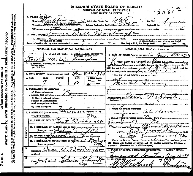 Laura Belle Boatright Death Certificate: