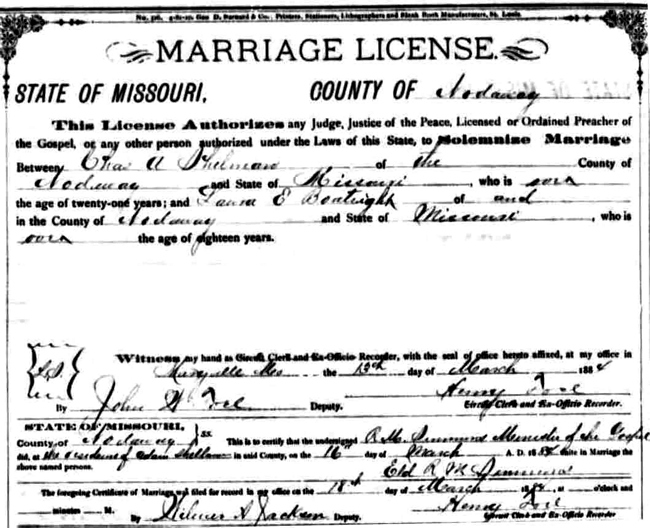 Laura Ellen Boatright and Charles Andrew Shelman Marriage License