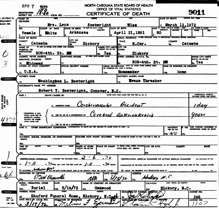 Lena Allison Boatright Wise Death Certificate: