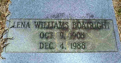 Lena Louise Williams Boatright Gravestone