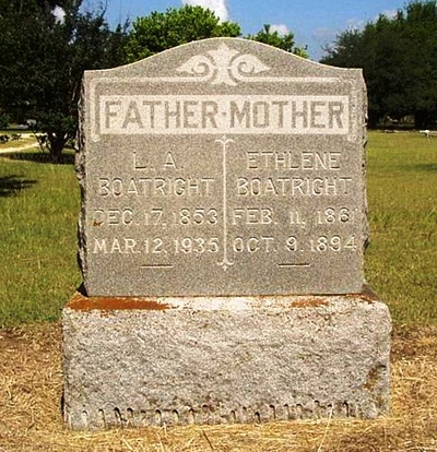 Lenerian A. and Ethlene Boatright Gravestone