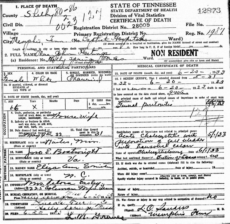Letitia Boatwright Hastings Death Certificate:
