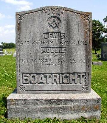 Lewis Boatright and Mary L. Reed Gravestone