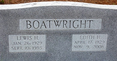 Lewis Harold and Edith Jean Hallman Boatwright Gravestone