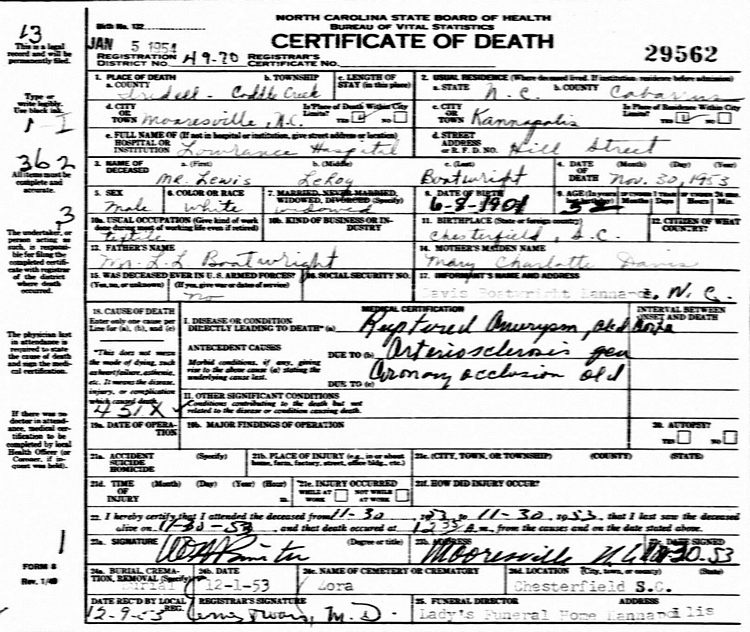 Lewis Leroy Boatwright Death Certificate: