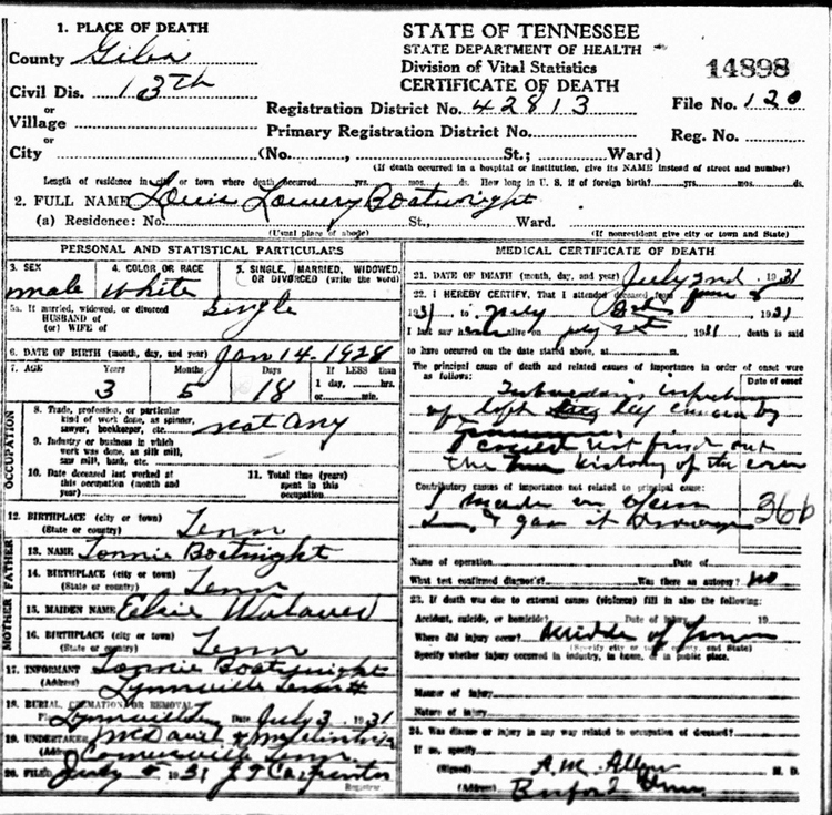 Lewis Lowery Boatright Death Certificate: