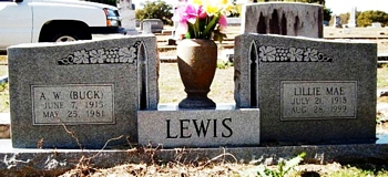 Lillie Mae Frances Boatwright and Alva Wade Lewis Gravestone