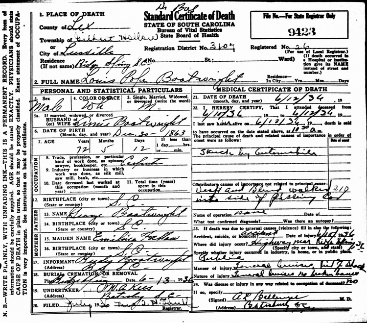 Louis Pope Boatwright Death Certificate: