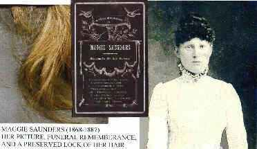 Maggie Saunders (1868--1887), her funeral rememberance 