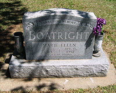 Marie Ellen Boatright Gravestone