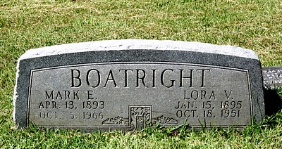 Mark Evander and Lora Vesta Neal Boatwright Gravestone