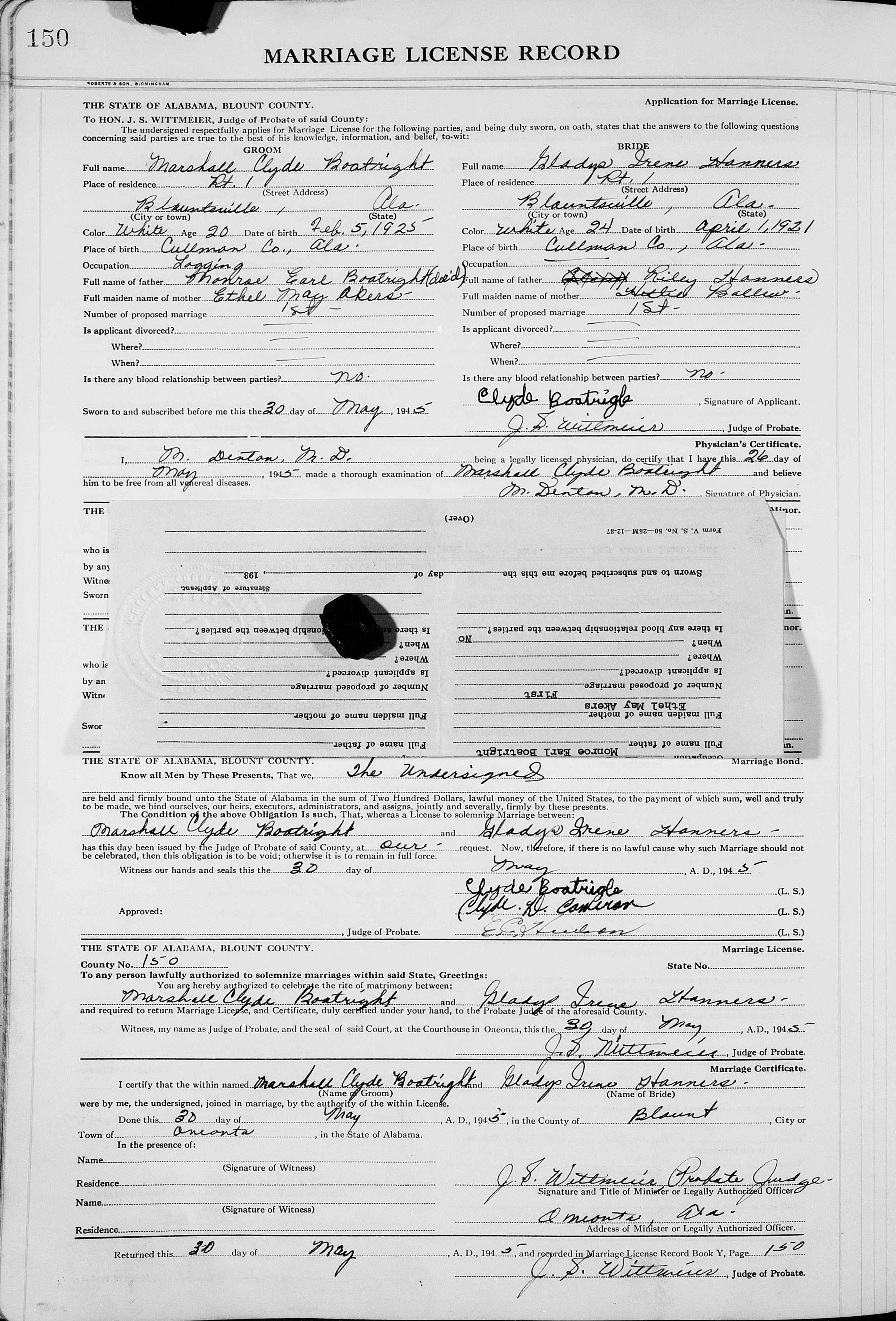 Marshall Clyde and Gladys Irene Hanners Boatright Marriage License: