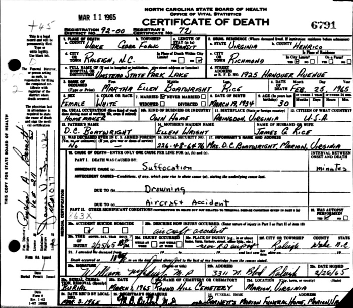 Martha Ellen Boatwright Rice Death Certificate: