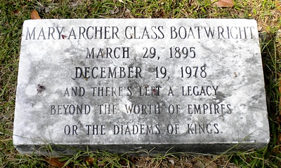 Mary Archer Glass Boatwright Gravestone