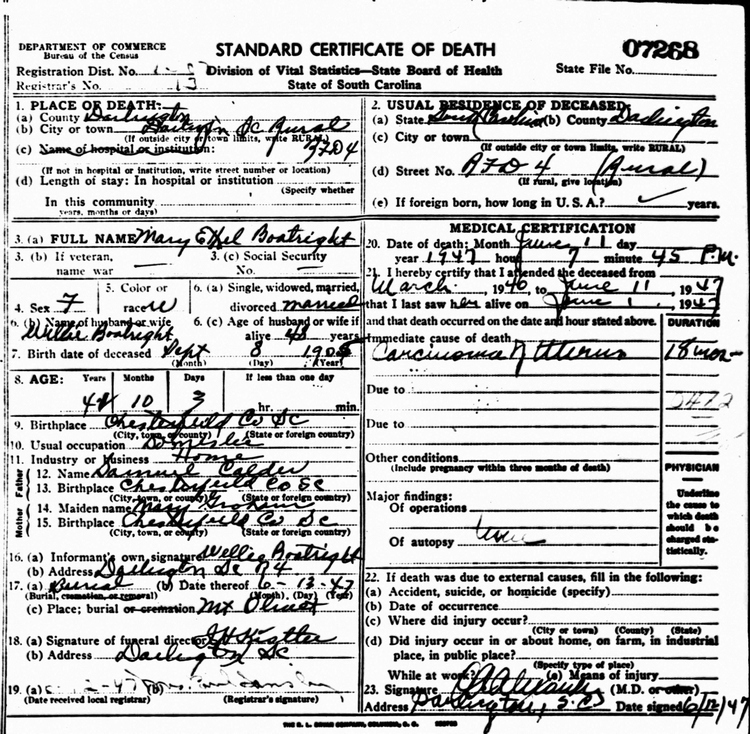 Mary E. Calder Boatwright Death Certificate: