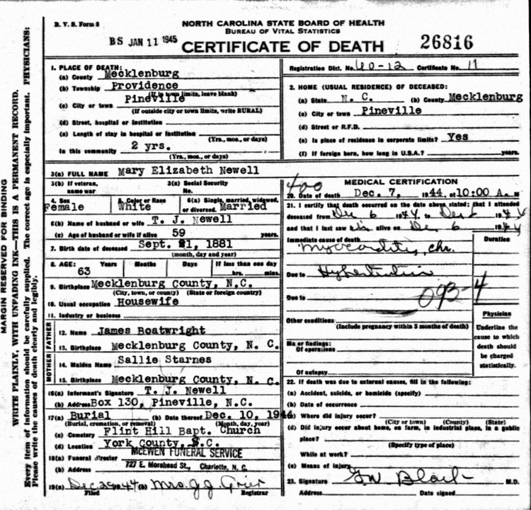 Mary Elizabeth Boatwright Newell Death Certificate: