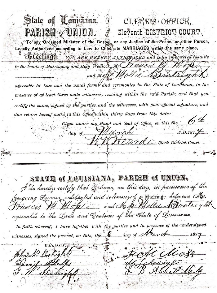 Mary Frances Boatwright and Francis Marion Moss Marriage License