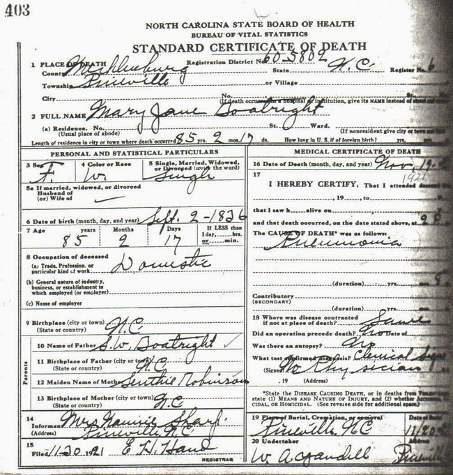 Mary Jane Boatright Death Certificate: