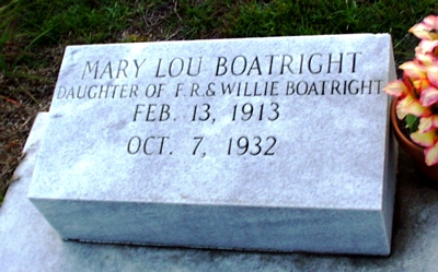 Mary Lou Boatright Gravestone: