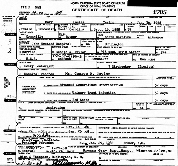 Mary Louise Boatwright Taylor Death Certificate: