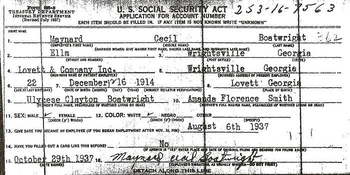 Maynard Cecil Boatwright Social Security Application: