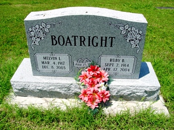 Melvin Lester Boatright and Ruby Beatrice Martin Gravestone