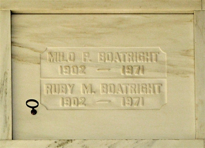 Milo P. and Ruby M. Hamilton Boatright Gravestone