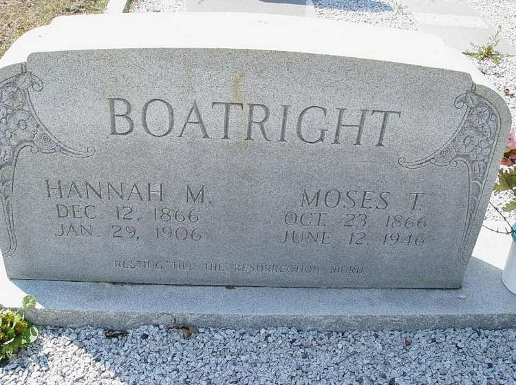 Moses Thomas and Hannah Miranda Carter Boatright Gravestone: