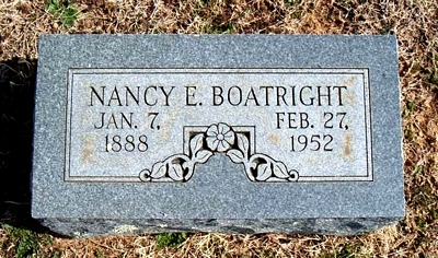Nancy Evelyn Boatright Marker in Elmwood Cemetery