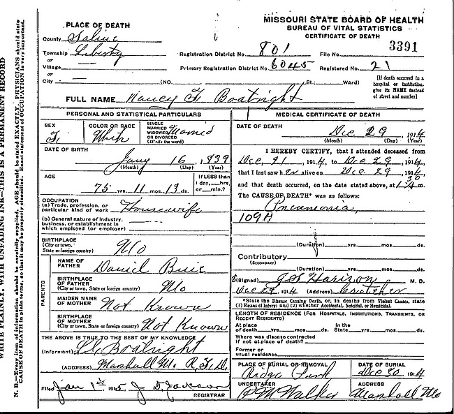 Nancy Frances Buie Boatright Death Certificate: