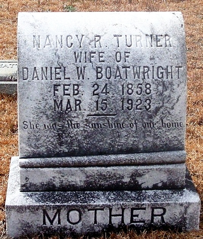 Nancy Rebecca Turner Boatright Gravestone