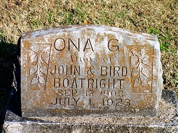 Ona Grace Boatright Gravestone