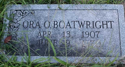 Ora Otis Boatwright Gravestone: