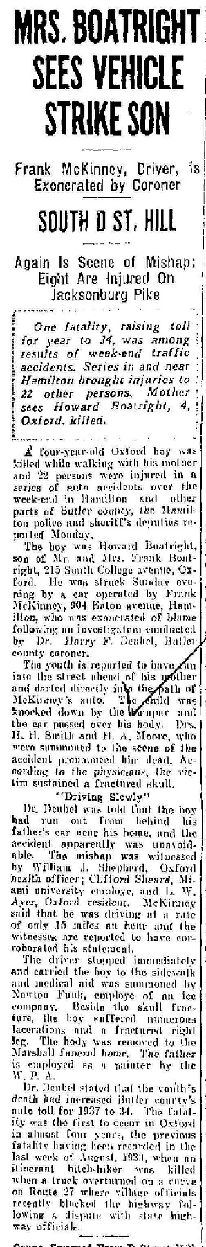 Orval Howard Boatright Newspaper Article: