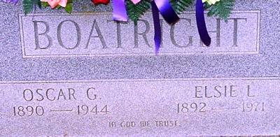Oscar Gaines and Elsie L. Boatright Gravestone