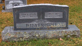 Patrick Henry Boatright and Dovie Bly Hill Gravestone