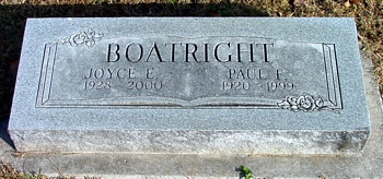 Paul Franklin and Joyce Elaine Goins Boatright Marker