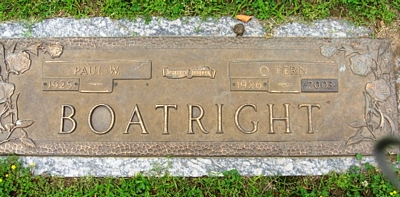 Paul Wise and Olive Fern Snead Boatright Gravestone
